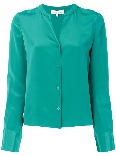 Dvf Diane Von Furstenberg shirt women classic silk green top