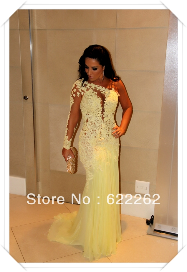 vestido de baile Brazil Russia Fashion Yellow Long sleeve Lace Open back prom dress-in Prom Dresses from Apparel & Accessories on Aliexpress.com | Alibaba Group