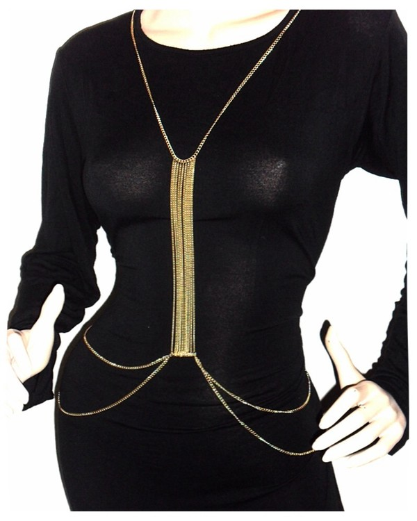 belt necklace gold gold necklace chain slave chain body chain waist chain boho ethinic body harness harness