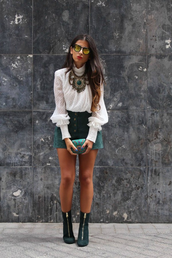 41c47c7c503 style by nelli blogger suede shoes suede white blouse statement necklace  mirrored sunglasses fall outfits button.