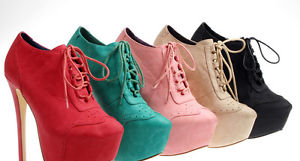 Women Platform Wedge High Heels Oxford Lace Up Fux Leather Booties Color Shoes | eBay