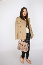 wearing fashion fluently,blogger,beige,trench coat,checkered,satchel bag,mulberry,printed pants,sweater,pants,coat,bag