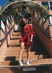 dress,red dress,red,mini dress,wrap dress,sneakers,Maddie ziegler,instagram