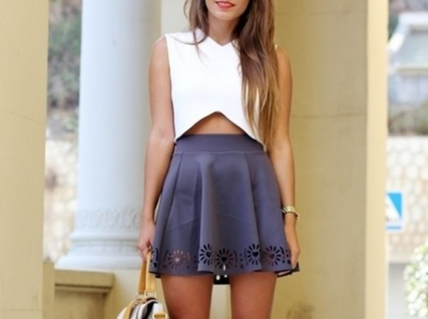 blouse black skirt crop tops white