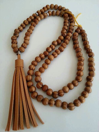 jewels leather leather tassel necklace bohomian necklace leather necklace wood bead