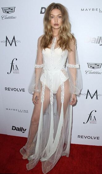 sandals high heels gigi hadid see through dress bodysuit bustier model white white dress underwear