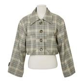 jacket,stylenanda,cropped jacket,crop,glen plaid