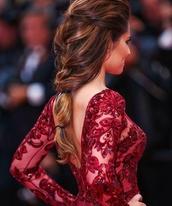 dress,red,red dress,long sleeve dress,formal dress,formal,cheryl cole,red carpet,red carpet dress