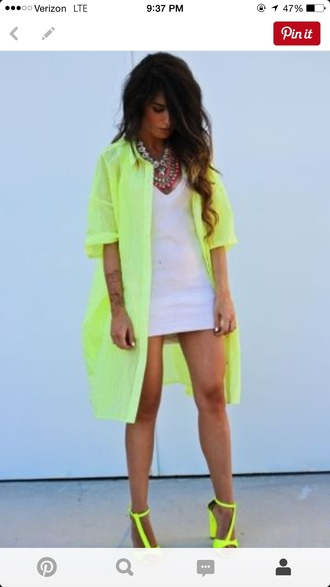 dress neon neon dress shirtdress yellow dress button up shirt yellow neon yellow shirt dress shirt coat