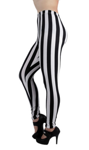 128576 High Waist Black White Stripes Print Full Length Leggings | eBay