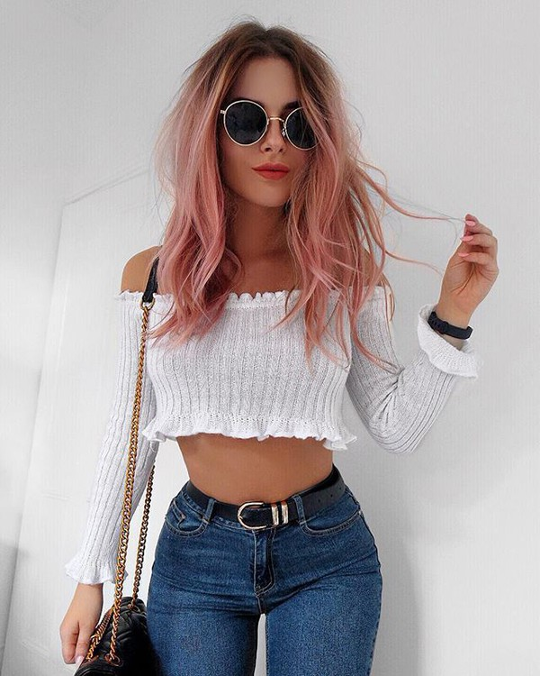 Top tumblr white top white crop tops crop tops off the shoulder off the shoulder top long ...