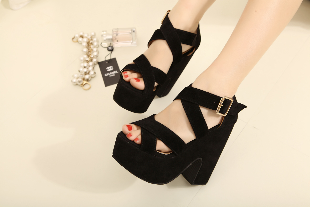 Fashion new arrival cross straps open toe wedges thick heel hasp female sandals  black wedges sandals platform high heeled-inSandals from Shoes on Aliexpress.com