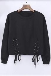sweater,black sweater,black,lace up,crop,cropped,cropped sweater,sweatshirt