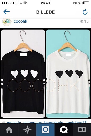 heart black blouse white