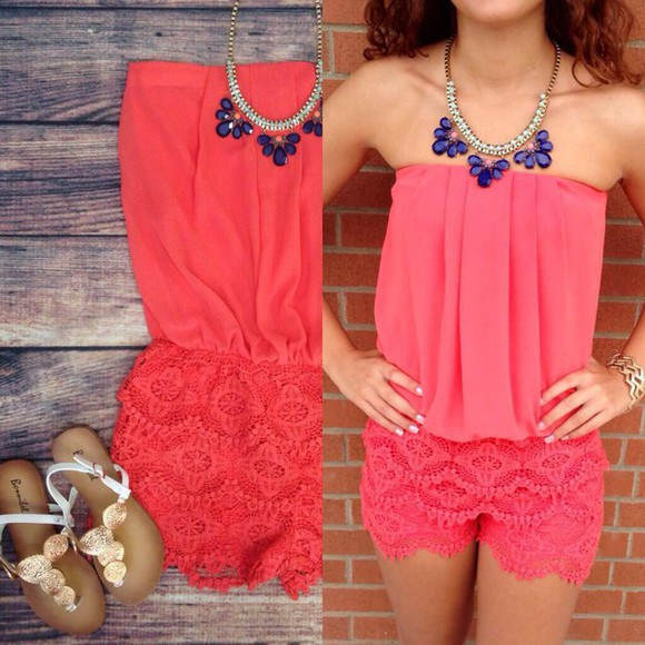 romper jumpsuit coral romper jewels colors. girly summer outfits coral romper with lace shortss