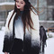 Veste en fausse fourrure manche longue -noir blanc-french shein(sheinside)