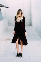 a little dash of darling,blogger,dress,jewels,shoes,velvet dress,rap dress,red velvet dress,mules,bachelorette party outfits,wrap dress,slit dress,velvet,burgundy dress,burgundy,new year dresses,tumblr,midi dress,christmas dress,long sleeves,long sleeve dress,holiday season,sunglasses