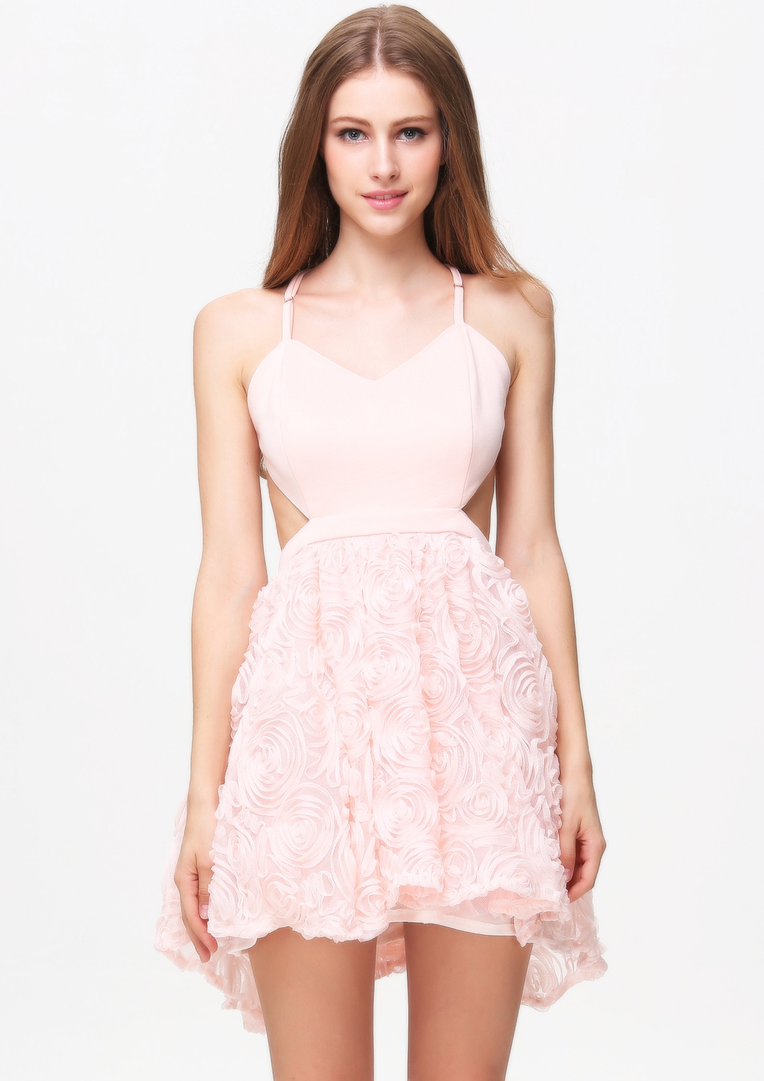 Pink Criss Cross Embroidered Flare Chiffon Dress - Sheinside.com