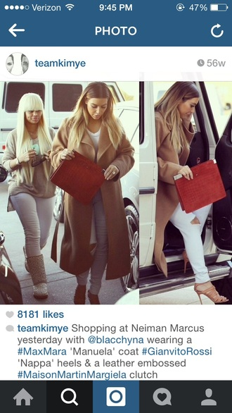 kim kardashian camel coat red bag