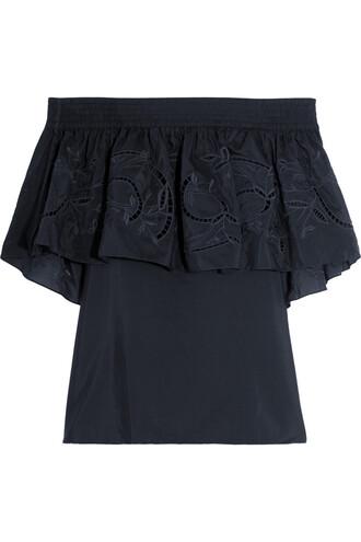 top embroidered cotton silk black