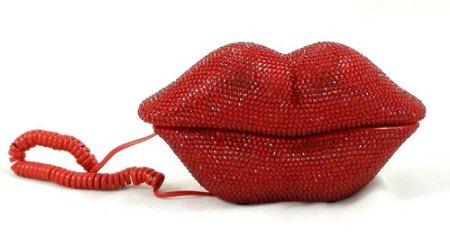 Lips phone with rhinestones red / silver by phonefancydotcom