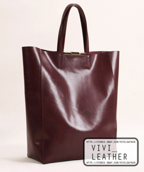 bag tote handbag leather woman shopper burgundy celebrity miranda kerr