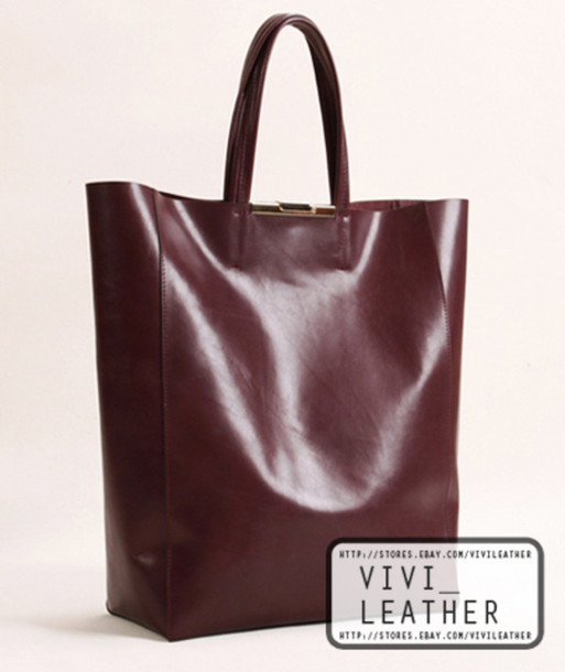 Bag: leather, women, handbag, shopper, tote bag, burgundy ...