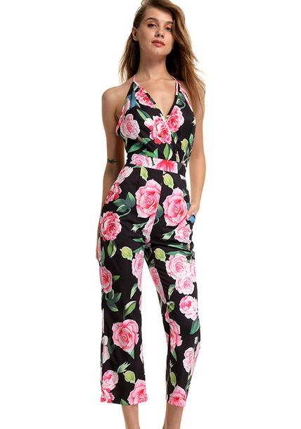 jumpsuit junpsuit backless jumpsuit print backless fashion clothes women dress flower jumpsuit