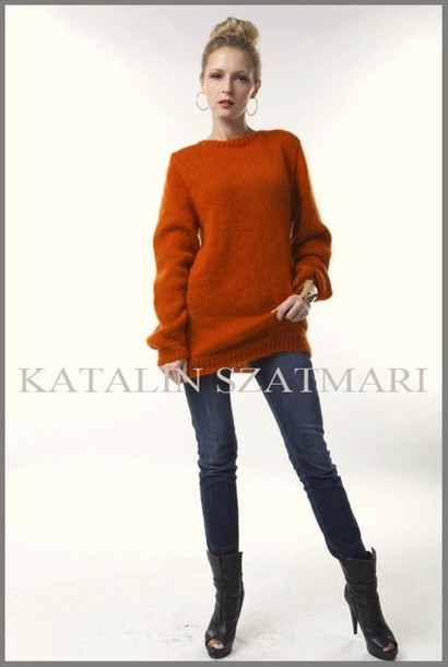 sweater mohair sweater orange sweater knitted sweater crew-neck sweater long sleeved sweater angora sweater women's sweater