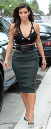 skirt,top,kim kardashian,shoes,belt