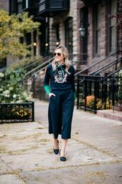 bows&sequins,blogger,pants,sweater,shoes,bag,scarf,spring outfits,cropped pants