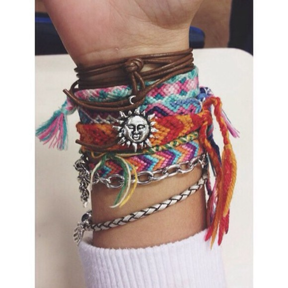 jewels bracelets rock indie grunge macrame rippie boho bracelets bright colours sun brown silver chain
