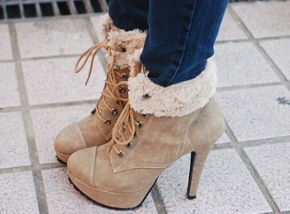 high heels boot heels fur lase