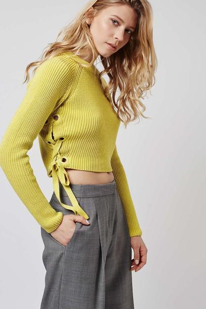7211b29b0e sweater lace up cropped sweater topshop