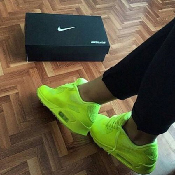 NIKE WOMENS GIRLS AIR MAX 90 GS Neon Green running ...