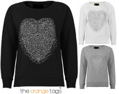 sweater,round neck,cotton,diamanté,heart,sweetheart,sweatshirt,pullover,hoodie,black,grey,white,silver,cute,girly,urban,full sleeves,streetstyle