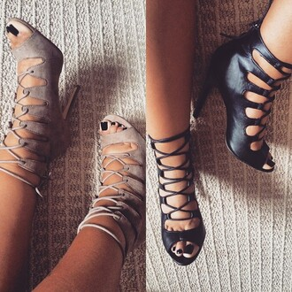 shoes madden girl heels sexy cute cut-out taupe pumps high heels lace up lace up heels zooshoo