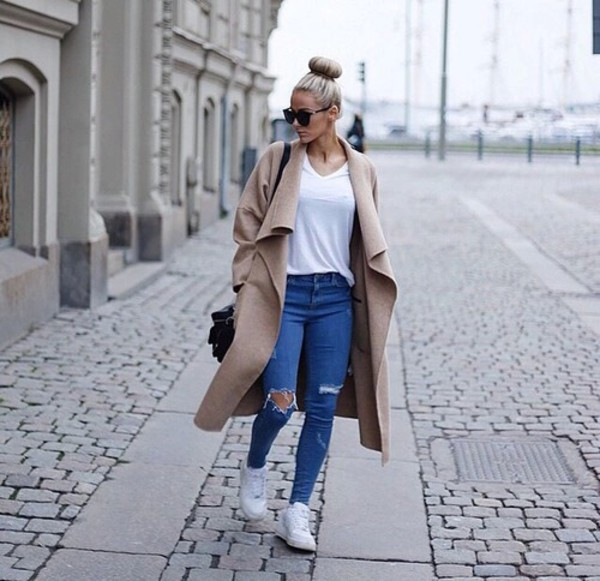 coat long coat long oversized cocoon coat beige coat large coat ripped jeans jeans top fashionista white shoes blue jeans denim light blue jeans light blue skinny jeans sunglasses sunnies winter outfits hipster cute style style trendy trendy cool blogger instagram clothes on point clothing cardigan