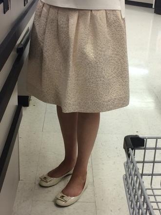 beige gold ballet flats circle skirt