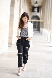 elodie in paris,blogger,jacket,jeans,jewels,grey top,white blazer,black jeans,ripped jeans,blazer,flats,lace up flats,shirt,grey t-shirt
