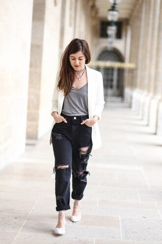 elodie in paris blogger jacket jeans jewels grey top white blazer black jeans ripped jeans blazer flats lace up flats