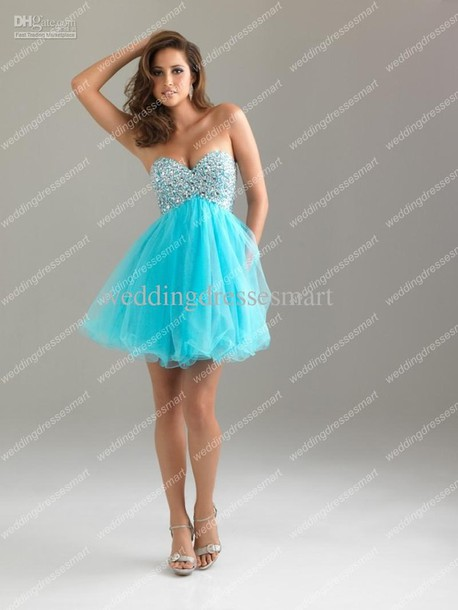 Dress: aqua blue bling tulle skirt strapless dress prom dress ...