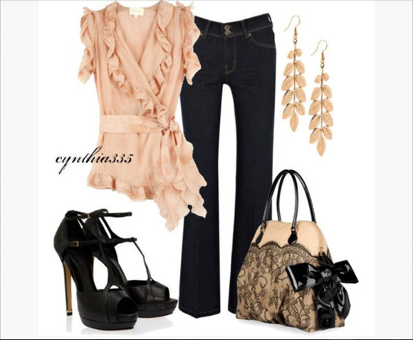 shoes black heels blouse top shirt peach pants jeans earrings leaf earrings high heels sling back heels peep toe heels sling back peep toe heels bag purse lace purse clothes outfit