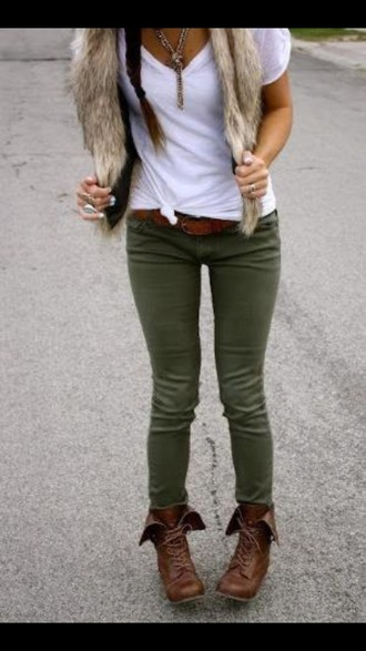 jacket fur jacket olive jeans white t-shirt brown combat boots