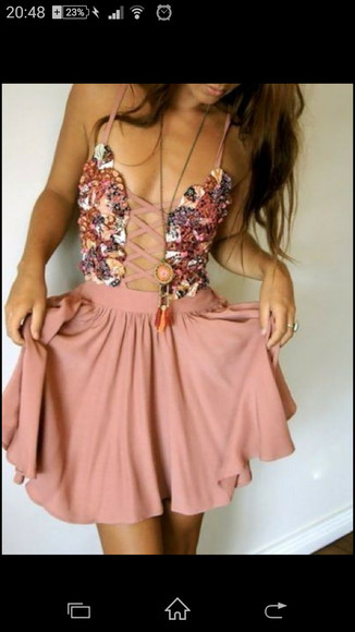 cute dress jewels open front pink dress front open dress floral dress pink floral dress corest prom dress sundresses lace up coktail dresses white