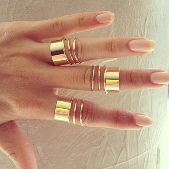 nail polish jewels bague gold rings bands gold ring mid finger rings gold midi rings