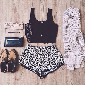 shorts sunflower shorts cardigan black croptop tank sweater