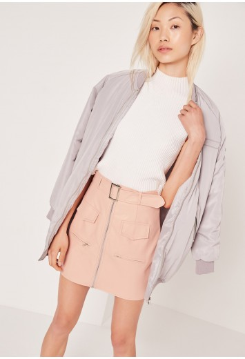30201c5e55 Missguided - Petite Exclusive Buckle Zip Faux Leather Mini Skirt Nude