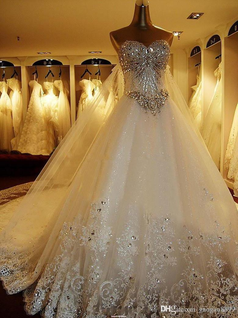 2016 amelia sposa sparkly crystal full lace wedding dresses luxury cathedral train bridal gowns real image plus