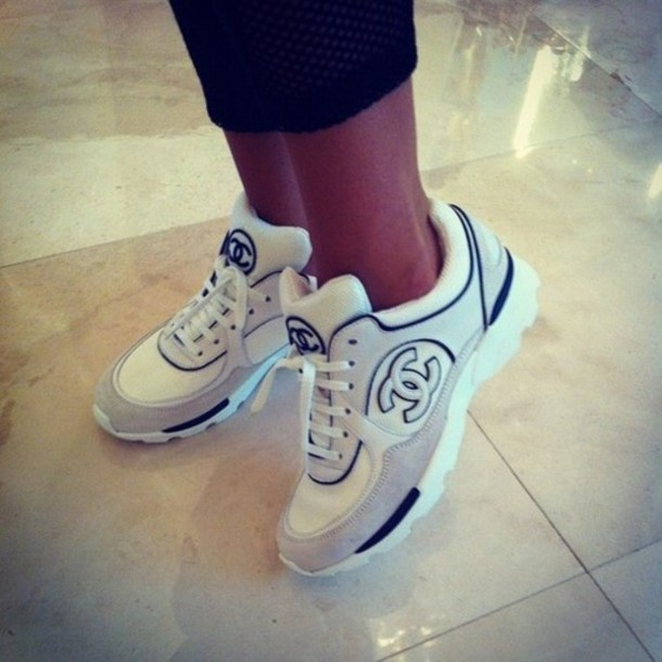 b44e93bcc58c shoes, chanel, sneakers, gold, black, white, designer - Wheretoget